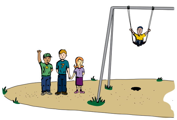 Illustration of children at playground with sand as a soft surface