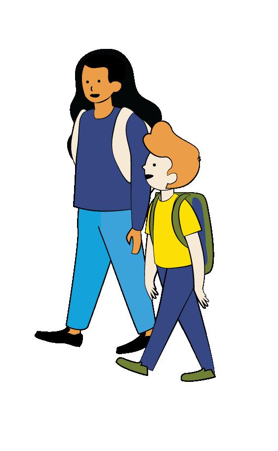 Illustration of older girl and younger boy walking